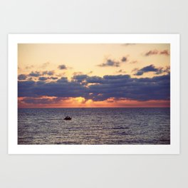 Sunset on the boat Art Print