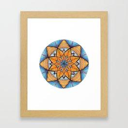 Sapphire-Gold Mandala (on white) Framed Art Print