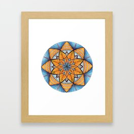Sapphire-Gold Mandala (on white) Framed Art Print