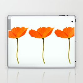Three Orange Poppy Flowers White Background #decor #society6 #buyart Laptop & iPad Skin