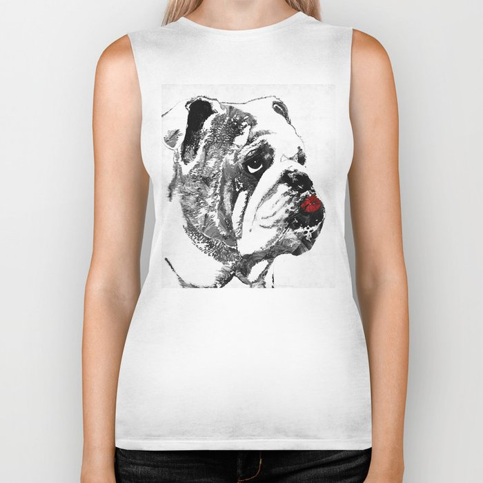 Bulldog Pop Art - How Bout A Kiss 2 - By Sharon Cummings Biker Tank