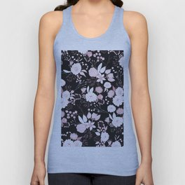 Blush pink white black rustic abstract floral illustration Unisex Tank Top