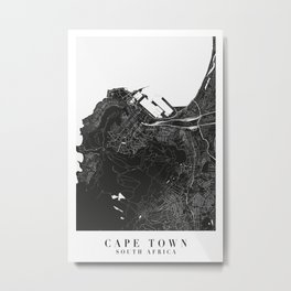 Cape Town South Africa Minimal Black Mono Street Map Metal Print