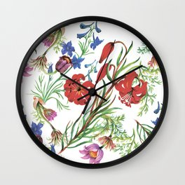 Red painting flowers Wall Clock