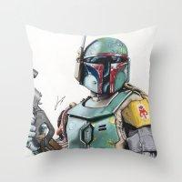 boba Throw Pillows featuring Boba Fett by lunaevayg