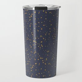 Speckles I: Dark Gold on Blue Vortex Travel Mug