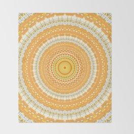 Marigold Orange Mandala Design Throw Blanket