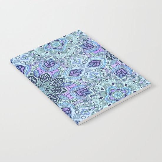 Navy Blue, Mint and Purple Boho Pattern  Notebook