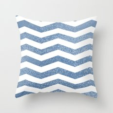 Steel Blue Herringbone Throw Pillow