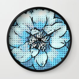 Altered Art Blue Dot Flower Special Digital Effect Wall Clock