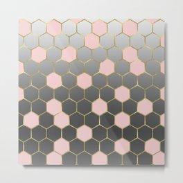Pink Grey & Gold Hexagon Metal Print
