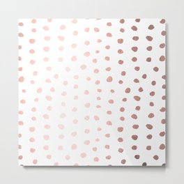 Rose Gold On White Foil Paint Line Dots Stripes Design IV Metal Print