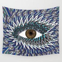 Origami Chakra Eye - Chocolate Brown Black Wall Tapestry
