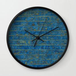 Golden Embossed Egyptian hieroglyphs on blue Wall Clock