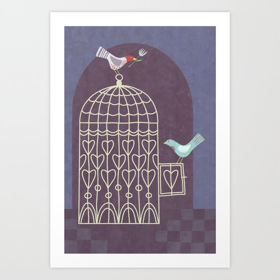 Leaving the Birdcage Art Print