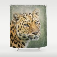 leopard Shower Curtains featuring Leopard by Pauline Fowler ( Polly470 )