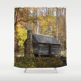 Smoky Mountain Rural Rustic Cabin Autumn View Shower Curtain