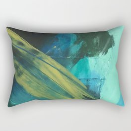 Align: a bold, abstract minimal piece in blues and greens Rectangular Pillow