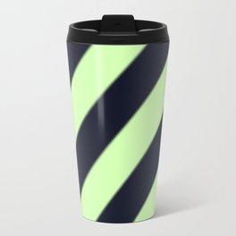 Black and Green Diagonal Stripes Travel Mug
