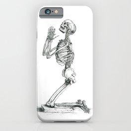 Vintage Praying Skeleton Graphite Anatomical Drawing iPhone Case