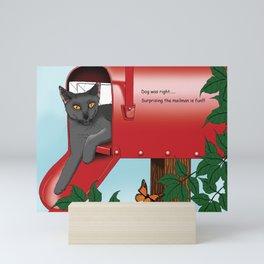 Mail Box Cat Mini Art Print