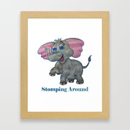 Stomping Around Elephant Framed Art Print