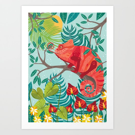 The Red Chameleon  Art Print