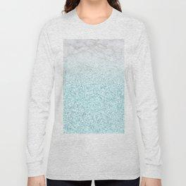 She Sparkles - Turquoise Sea Glitter Marble Long Sleeve T-shirt