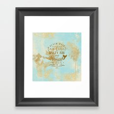 Beach-Mermaid-Mermaid Vibes - Gold glitter lettering on aqua glittering backround Framed Art Print