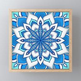 Blue Aqua Flower Mandala Framed Mini Art Print