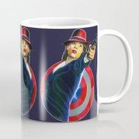 peggy carter Mugs featuring Peggy Carter by Farah Jayden