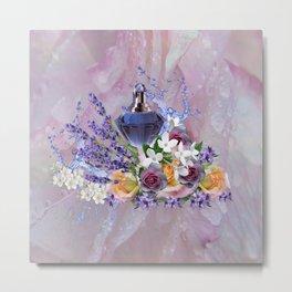 Tuberose & Lavender Blooms on Rose petals Metal Print