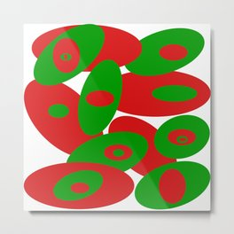 Red and Greens Orbs Metal Print