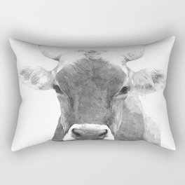 Cow black and white animal portrait Rectangular Pillow