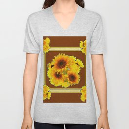 CHOCOLATE BROWN YELLOW SUNFLOWER BOUQUETS Unisex V-Neck