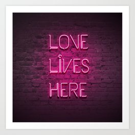 Love Lives Here (Magenta) Art Print
