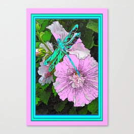 Green-Turquoise Dragonfly Pink Floral Art Canvas Print
