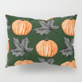 Pumpkin Deep Green Autumn Leaf Pillow Sham