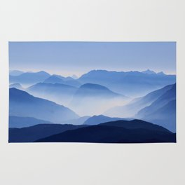 Periwinkle Landscape Mountains Parallax Rug