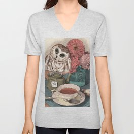 Morning Tea Owl Unisex V-Neck