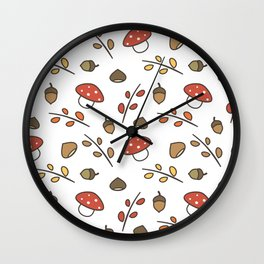 cute lovely autumn pattern with branches, leaves, mushroom, acorns, chestnuts Wall Clock