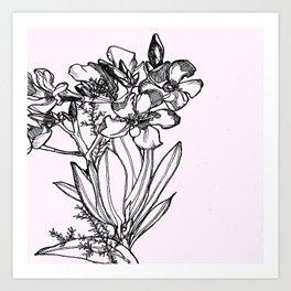 flower in black ink Art Print