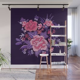 Mexican Flowers Purple Wall Mural