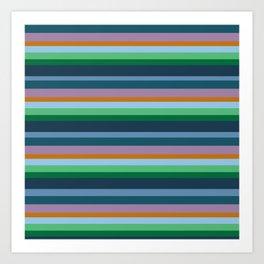 Blue,Green & Orange Stripes Art Print