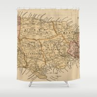 jamaica Shower Curtains featuring Vintage Map of Jamaica (1893) by BravuraMedia