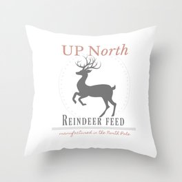 Up North Reindeer Feed Throw Pillow
