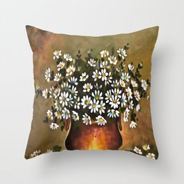 Daisies In A Copper Colored Vase Throw Pillow