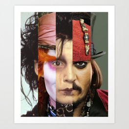 Faces Johnny Depp Art Print