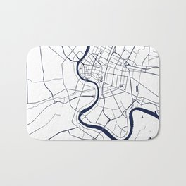 Bangkok Thailand Minimal Street Map - Navy Blue and White Bath Mat