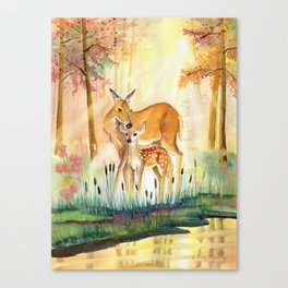 Mom and Little Deer Canvas Print